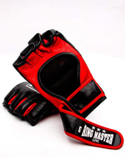 RingMaster Sports MMA Gloves Genuine Leather Black and Red Image 5