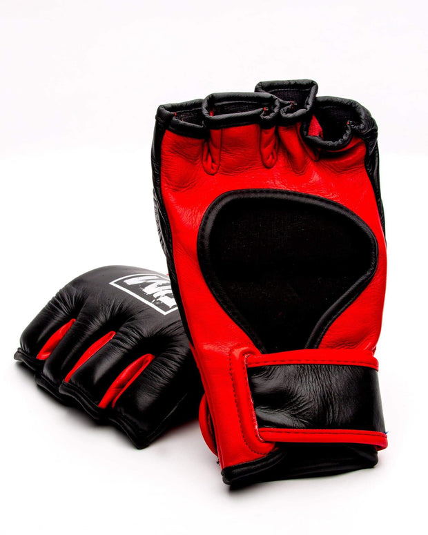 RingMaster Sports MMA Gloves Genuine Leather Black and Red Image 3