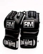 RingMaster Sports MMA Gloves Synthetic Leather Black and Silver Image 1
