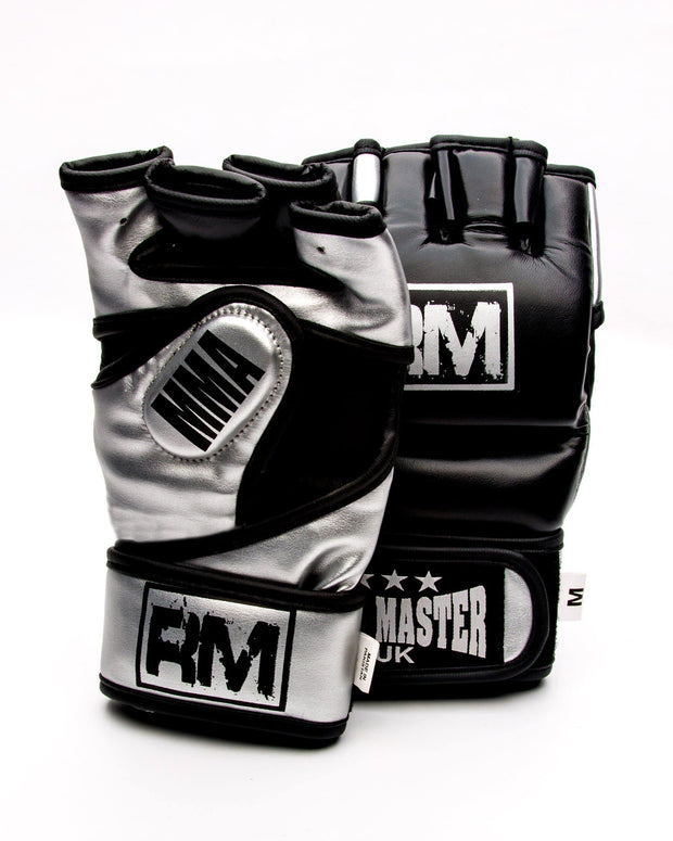 RingMaster sports MMA Gloves Synthetic Leather Black and Silver Image 2