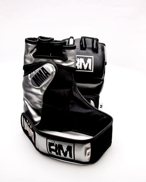 RingMaster Sports MMA Gloves Synthetic Leather Black and Silver Image 3