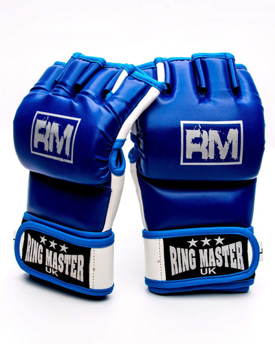 RingMaster Sports MMA Gloves Synthetic Leather Blue and White Image 4