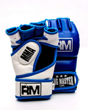 RingMaster Sports MMA Gloves Synthetic Leather Blue and White Image 1
