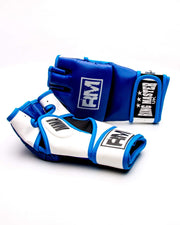 RingMaster Sports MMA Gloves Synthetic Leather Blue and White Image 3