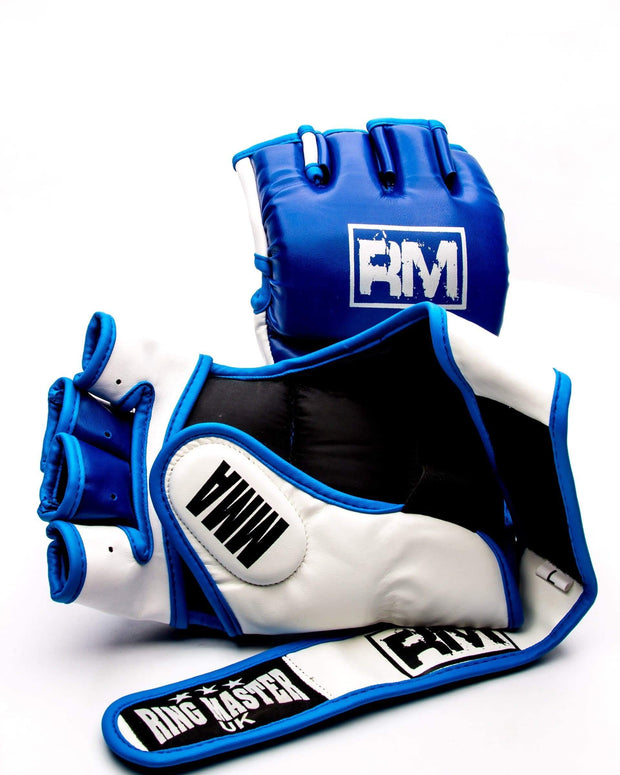 RingMaster Sports MMA Gloves Synthetic Leather Blue and White Image 5