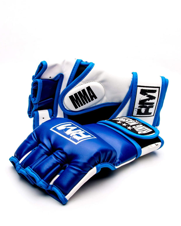 RingMaster Sports MMA Gloves Synthetic Leather Blue and White Image 2