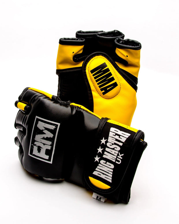 RingMaster Sports MMA Gloves Synthetic Leather Black and Yellow Image 1
