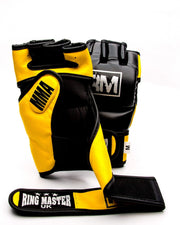 RingMaster sports MMA Gloves Synthetic Leather Black and Yellow Image 3