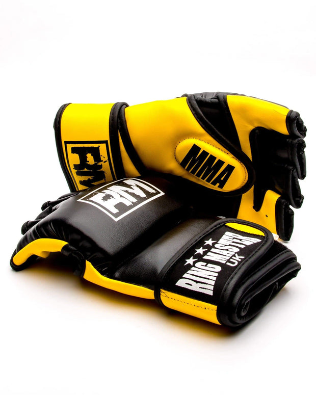 RingMaster Sports MMA Gloves Synthetic Leather Black and Yellow Image 4