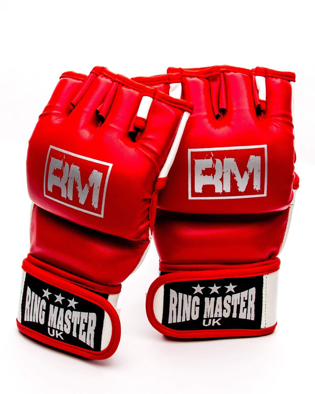 RingMaster Sports MMA Gloves Synthetic Leather Red and White image5