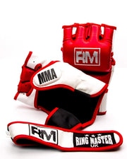 RingMaster Sports MMA Gloves Synthetic Leather Red and White image2