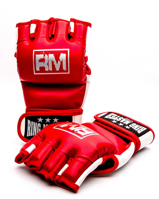 RingMaster Sports MMA Gloves Synthetic Leather Red and White image 1