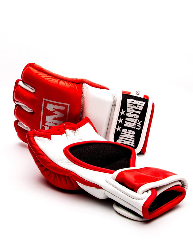 RingMaster Sports MMA Gloves Genuine Leather Red and White Image 2