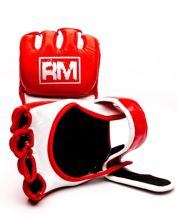 RingMaster Sports MMA Gloves Genuine Leather Red and White Image 4