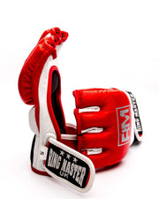 RingMaster Sports MMA Gloves Genuine Leather Red and White Image 3