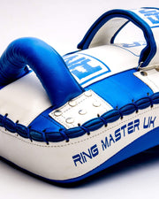 RingMaster Sports One Size Arm Pads Genuine Leather Blue and White (Single Item) image 2