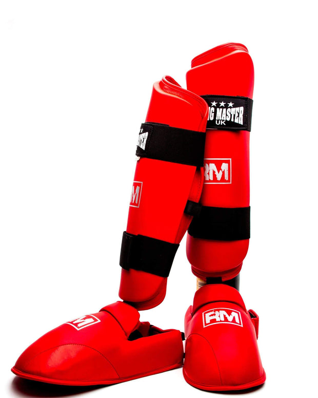 RingMaster Sports Synthetic Leather Karate Shin Instep Guards Red image 1