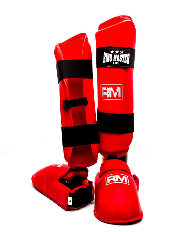 RingMaster Sports Synthetic Leather Karate Shin Instep Guards Red image 4