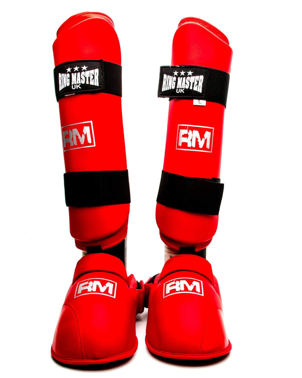 RingMaster Sports Synthetic Leather Karate Shin Instep Guards Red image 2