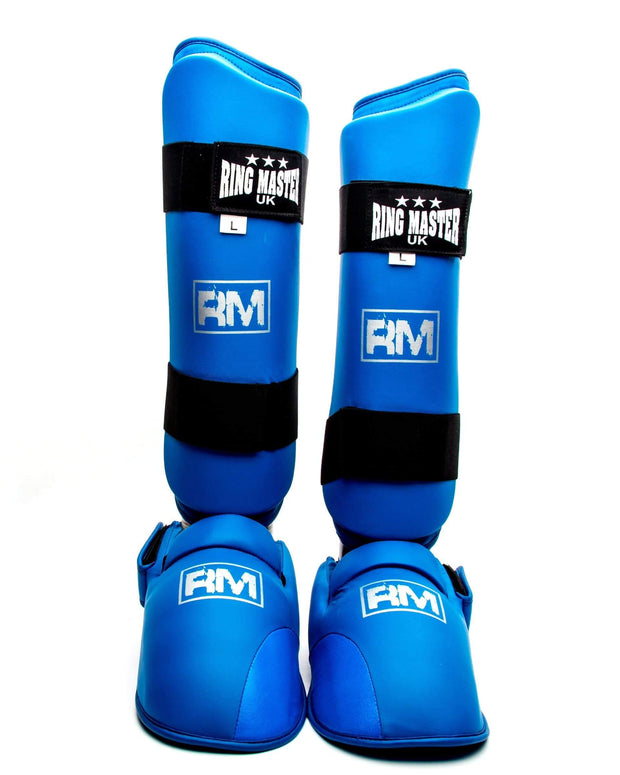 RingMaster Sports Synthetic Leather Karate Shin Instep Guards Blue image 1