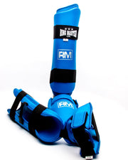RingMaster Sports Synthetic Leather Karate Shin Instep Guards Blue image 2