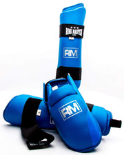 RingMaster Sports Synthetic Leather Karate Shin Instep Guards Blue image 4