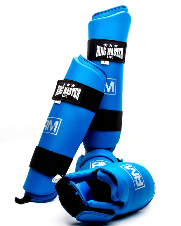 RingMaster Sports Synthetic Leather Karate Shin Instep Guards Blue image 6