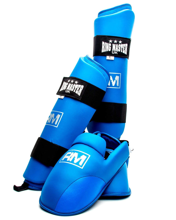 RingMaster Sports Synthetic Leather Karate Shin Instep Guards Blue image 3