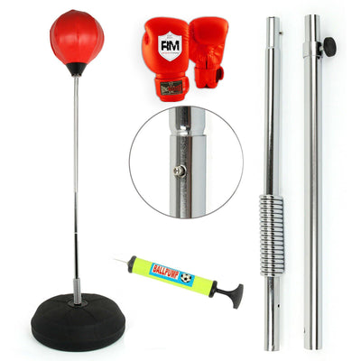 STANDING ADJUSTABLE PUNCH BAG BALL SET INCLUDES RINGMASTER SPORTS GLOVES MITTS BOXING UK NEW