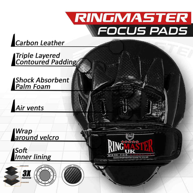 RingMaster Sports Ultralight Focus Pads Carbon Leather One Size Black