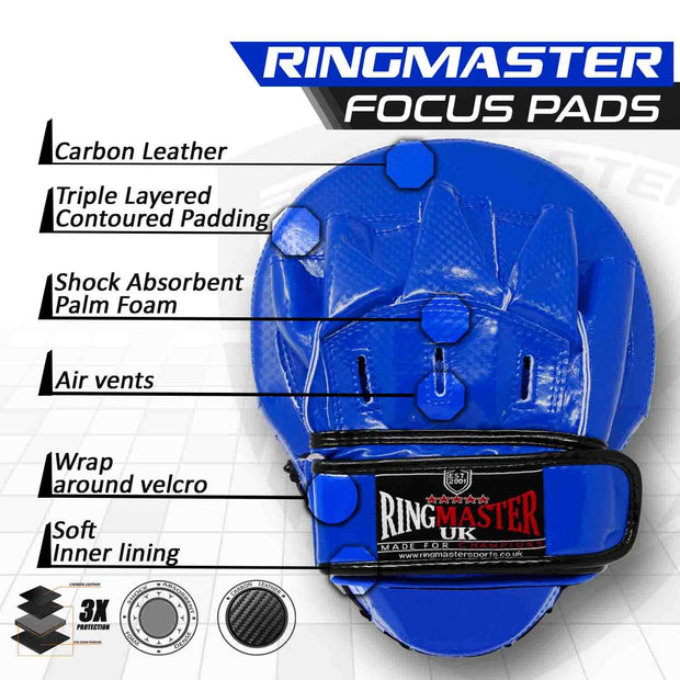 RingMaster Sports Ultralight Focus Pads Carbon Leather One Size Blue