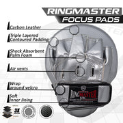 RingMaster Sports Ultralight Focus Pads Carbon Leather One Size Silver