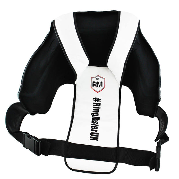 RingMasterUK Body Protector Chest Guard Synthetic Leather Training MMA Kickboxing (Black/White)