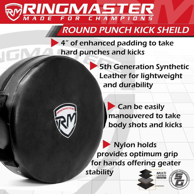 RingMaster Sports Round Kick Shield Synthetic Leather Black