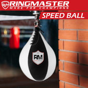 RingMaster Sports Speed Ball Genuine Leather White/Black