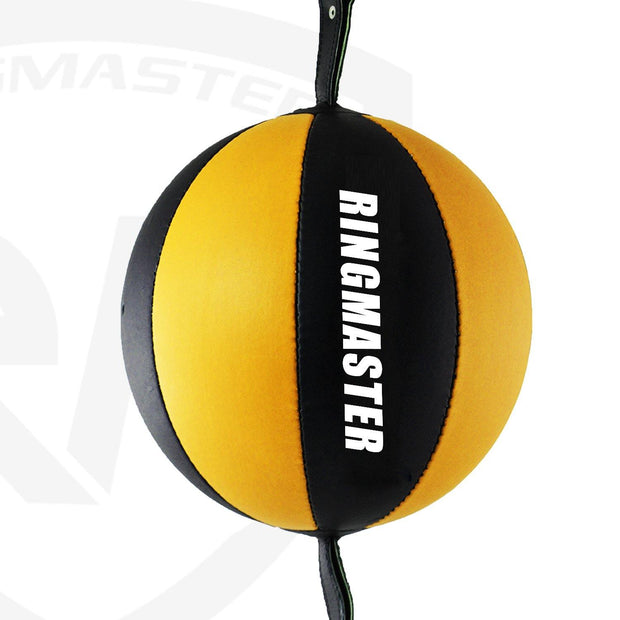 RingMaster Sports Double End Speed Bag Ball Genuine Leather Gold/Black
