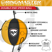 RingMaster Sports Double End Speed Bag Ball Synthetic Leather Gold/Black