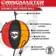 RingMaster Sports Double End Speed Bag Ball Synthetic Leather Red/Black