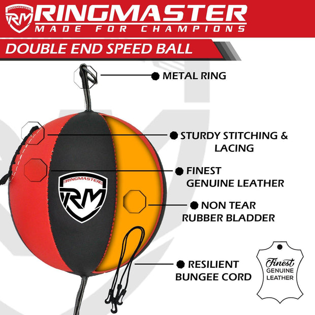 RingMaster Sports Double End Speed Bag Ball Genuine Leather Red/Black