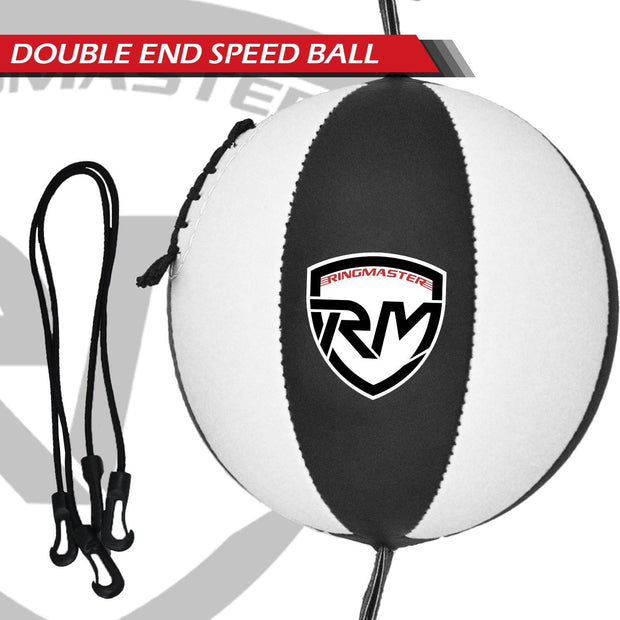 RingMaster Sports Double End Speed Bag Ball Genuine Leather White/Black