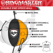 RingMaster Sports Double End Speed Bag Ball Synthetic Leather White/Black