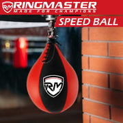 RingMaster Sports Speed Ball Genuine Leather Red/Black