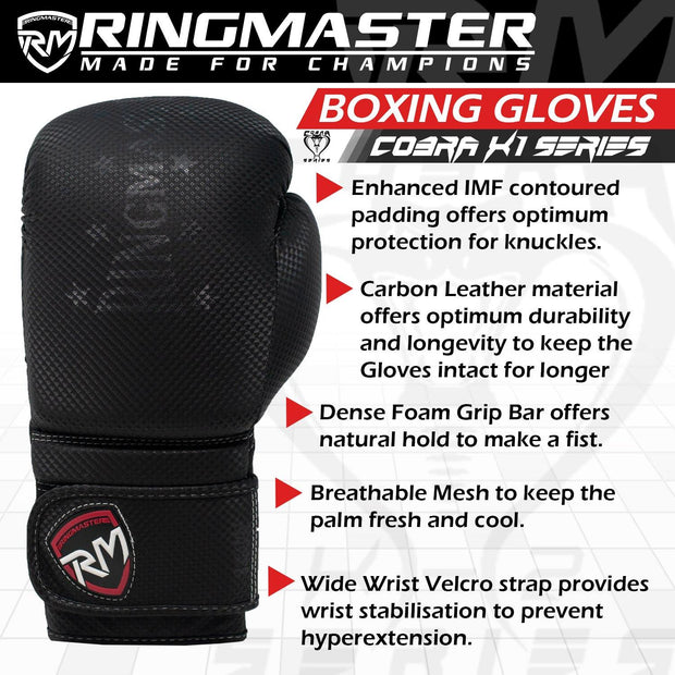 RingMaster Sports Boxing Gloves CarbonTech Leather Cobra Series