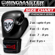 RINGMASTER SPORTS - PHENOM KIDS BOXING GLOVES CARBONTECH BLACK