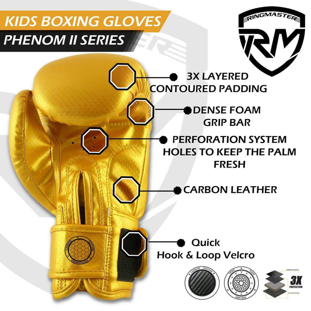 RINGMASTER SPORTS - PHENOM KIDS BOXING GLOVES CARBONTECH GOLD **Item is on Sale due to Branding Miss Print, Please contact for more details**