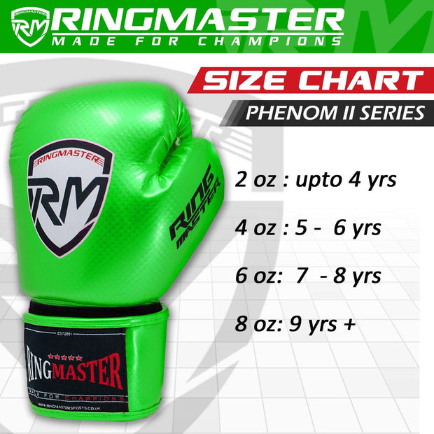 RINGMASTER SPORTS - PHENOM KIDS BOXING GLOVES CARBONTECH GREEN