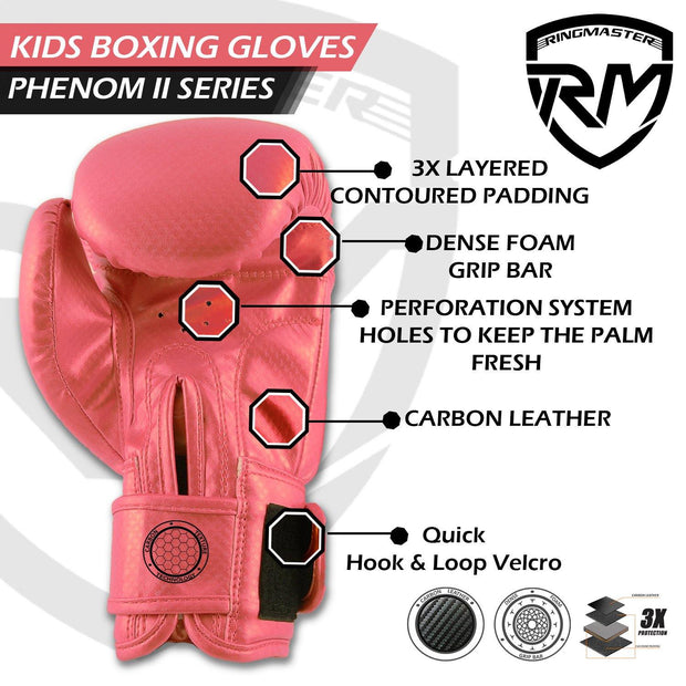 RINGMASTER SPORTS - PHENOM KIDS BOXING GLOVES CARBONTECH PINK