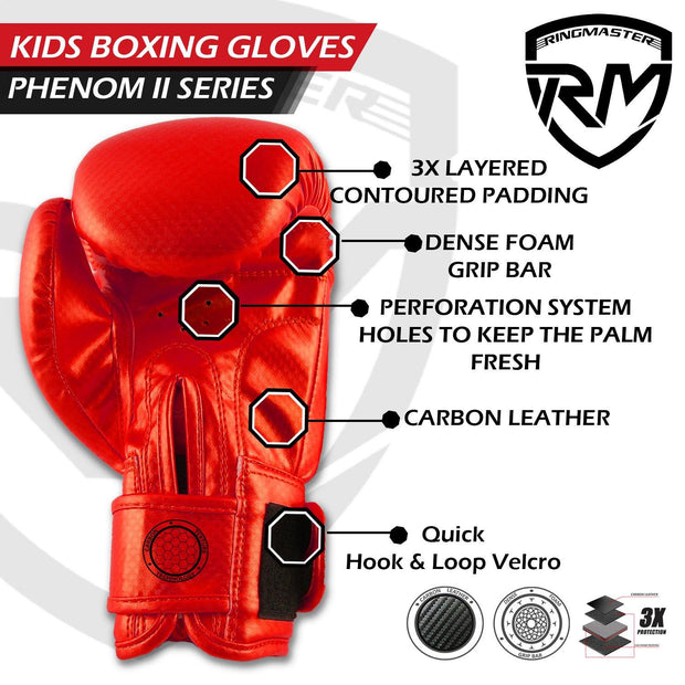 RINGMASTER SPORTS - PHENOM KIDS BOXING GLOVES CARBONTECH RED
