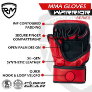 RINGMASTER SPORTS WARRIOR SERIES MMA GLOVES 8OZ RED