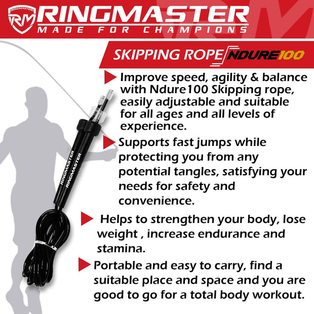 RINGMASTER SPORTS SKIPPING ROPE 3M BLACK